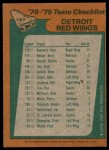 1978 Topps #197   Red Wings Team Checklist Back Thumbnail
