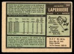1971 O-Pee-Chee #144  Jacques Laperriere  Back Thumbnail
