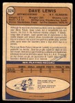1974 O-Pee-Chee NHL #324  Dave Lewis  Back Thumbnail