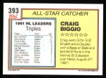 1992 Topps #393   -  Craig Biggio All-Star Back Thumbnail