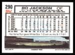 1992 Topps #290  Bo Jackson  Back Thumbnail