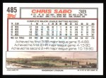 1992 Topps #485  Chris Sabo  Back Thumbnail