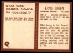 1967 Philadelphia #41  Ernie Green  Back Thumbnail