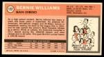 1970 Topps #122  Bernie Williams   Back Thumbnail