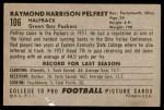 1952 Bowman Large #106  Raymond Pelfrey  Back Thumbnail