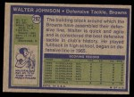 1972 Topps #292  Walter Johnson  Back Thumbnail