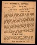 1940 Play Ball #140  Dick Coffman  Back Thumbnail