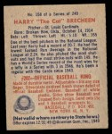 1949 Bowman #158  Harry Brecheen  Back Thumbnail
