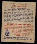 1949 Bowman #231  Earl Johnson  Back Thumbnail