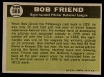 1961 Topps #585   -  Bob Friend All-Star Back Thumbnail
