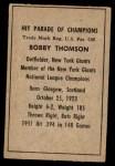 1952 Berk Ross  Bobby Thomson  Back Thumbnail