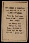 1952 Berk Ross  Allie Reynolds  Back Thumbnail