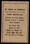 1952 Berk Ross  Gene Woodling  Back Thumbnail