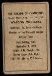 1952 Berk Ross  Wally Westlake  Back Thumbnail