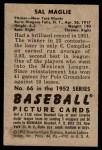 1952 Bowman #66  Sal Maglie  Back Thumbnail