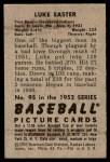 1952 Bowman #95  Luke Easter  Back Thumbnail