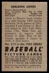 1952 Bowman #215  Sheldon Jones  Back Thumbnail