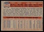 1957 Topps #370  Warren Hacker  Back Thumbnail