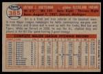 1957 Topps #385  Art Houtteman  Back Thumbnail