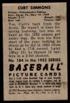 1952 Bowman #184  Curt Simmons  Back Thumbnail