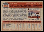 1957 Topps #391  Ralph Terry  Back Thumbnail