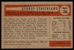 1954 Bowman #36  George Strickland  Back Thumbnail