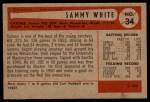 1954 Bowman #34  Sammy White  Back Thumbnail