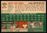 1954 Topps #40  Mel Parnell  Back Thumbnail