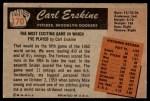 1955 Bowman #170  Carl Erskine  Back Thumbnail
