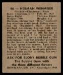 1948 Bowman #46  Herm Wehmeier  Back Thumbnail