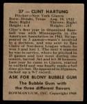 1948 Bowman #37  Clint Hartung  Back Thumbnail