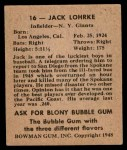 1948 Bowman #16  Jack Lohrke  Back Thumbnail
