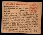1950 Bowman #73  Willard Marshall  Back Thumbnail