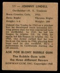 1948 Bowman #11  Johnny Lindell  Back Thumbnail