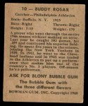 1948 Bowman #10  Buddy Rosar  Back Thumbnail