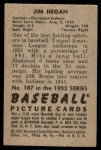 1952 Bowman #187  Jim Hegan  Back Thumbnail