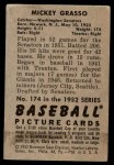 1952 Bowman #174  Mickey Grasso  Back Thumbnail