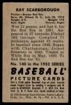 1952 Bowman #140  Ray Scarborough  Back Thumbnail