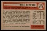 1954 Bowman #117  Dick Kryhoski  Back Thumbnail