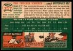 1954 Topps #217  Paul Schreiber  Back Thumbnail