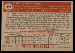 1952 Topps #298  Bob Ross  Back Thumbnail