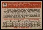 1952 Topps #211  Ray Coleman  Back Thumbnail
