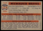 1957 Topps #114   Braves Team Back Thumbnail