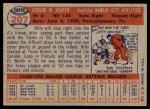 1957 Topps #207  Billy Hunter  Back Thumbnail