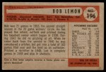 1954 Bowman #196  Bob Lemon  Back Thumbnail