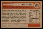 1954 Bowman #175  Mel Clark  Back Thumbnail