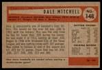 1954 Bowman #148  Dale Mitchell  Back Thumbnail