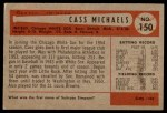 1954 Bowman #150  Cass Michaels  Back Thumbnail