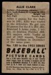 1952 Bowman #130  Allie Clark  Back Thumbnail
