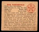 1950 Bowman #216 CPR Bob Porterfield  Back Thumbnail